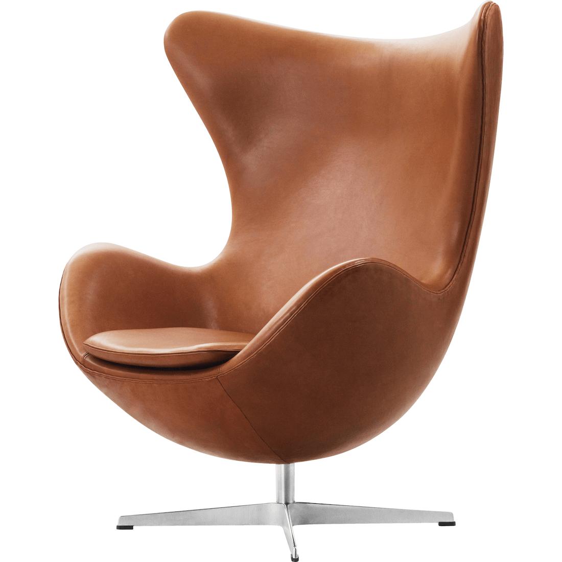 Fritz Hansen Ægget stol - Arne Jacobsen, Grace læder, valnød, Timm Møbler
