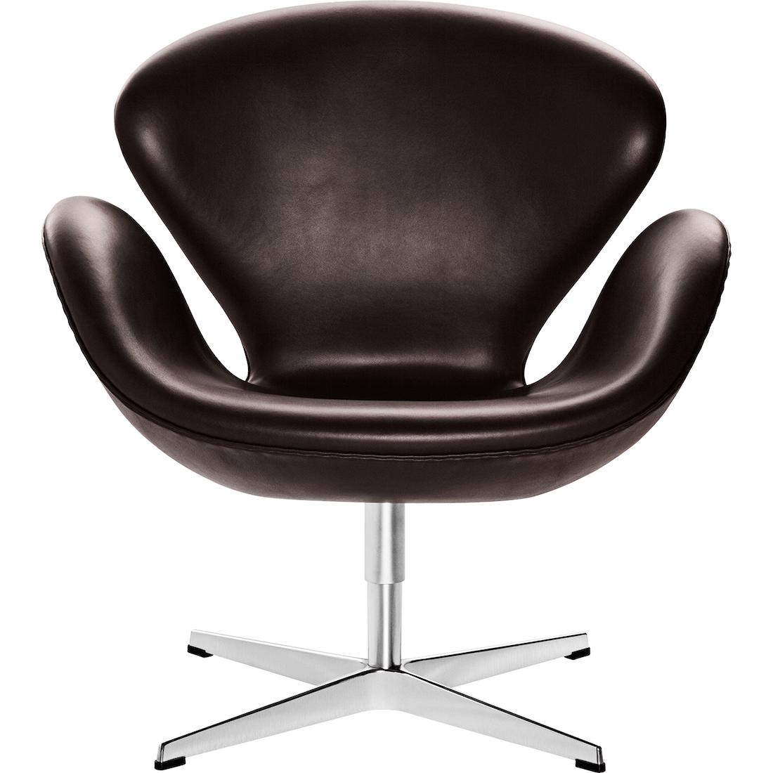 Fritz Hansen Svanen lænestol - Model 3320 - Læder, Grace læder, dark brown, Timm Møbler